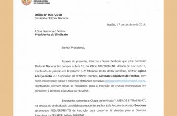 """Chapa """"UNIDADE E TRABALHO"""" registra candidatura à diretoria da FENAPEF"""